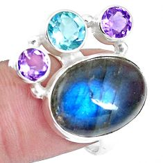 14.39cts natural blue labradorite amethyst topaz 925 silver ring size 7 p16924