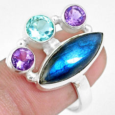 925 silver 13.28cts natural blue labradorite amethyst topaz ring size 8.5 p16928