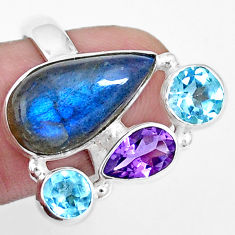 14.12cts natural blue labradorite amethyst topaz 925 silver ring size 8 p16931