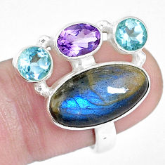 12.83cts natural blue labradorite amethyst topaz 925 silver ring size 7.5 p16933