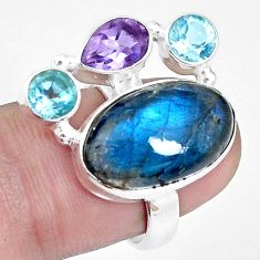 13.28cts natural blue labradorite amethyst topaz 925 silver ring size 6.5 p16938