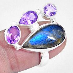 925 silver 12.83cts natural blue labradorite amethyst ring size 6.5 p16939