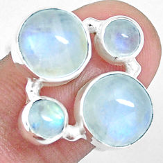 10.64cts natural rainbow moonstone 925 sterling silver ring size 7 p16945