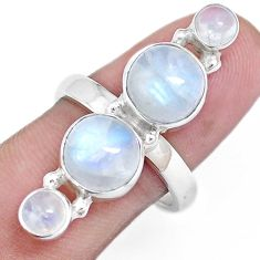 10.89cts natural rainbow moonstone 925 sterling silver ring size 8 p16949