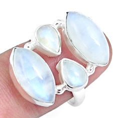 925 silver 13.34cts natural rainbow moonstone marquise ring size 7.5 p16954