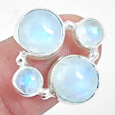 925 silver 10.02cts natural rainbow moonstone round shape ring size 6.5 p16958