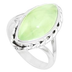 10.24cts natural green prehnite 925 silver solitaire ring size 7.5 p16961