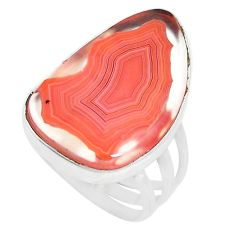925 sterling silver 16.54cts natural honey botswana agate ring size 8.5 p17148