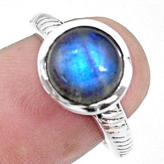 4.85cts natural blue labradorite 925 silver solitaire ring jewelry size 6 p17340
