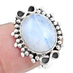 5.42cts natural rainbow moonstone 925 silver solitaire ring size 6 p17357