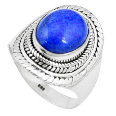 925 silver 5.01cts natural blue lapis lazuli solitaire ring size 8.5 p17387