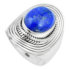 4.91cts natural blue lapis lazuli 925 silver solitaire ring size 7 p17388