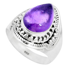 5.12cts natural purple amethyst 925 silver solitaire ring jewelry size 7 p17391