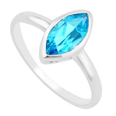 2.49cts natural blue topaz 925 sterling silver solitaire ring size 5.5 p18125
