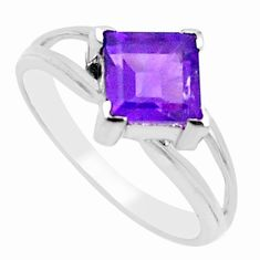 925 silver 2.72cts natural purple amethyst solitaire shape ring size 6.5 p18163