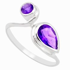 2.96cts natural purple amethyst 925 silver solitaire ring jewelry size 6 p18233