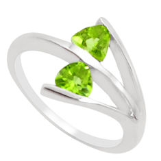 2.02cts natural green peridot 925 silver solitaire ring jewelry size 5.5 p18306