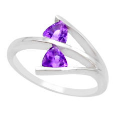 2.12cts natural purple amethyst 925 silver solitaire ring size 5.5 p18315