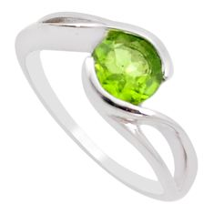 2.72cts natural green peridot 925 silver solitaire ring jewelry size 5.5 p18340