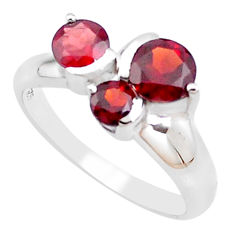 3.10cts natural red garnet 925 sterling silver solitaire ring size 6.5 p18346
