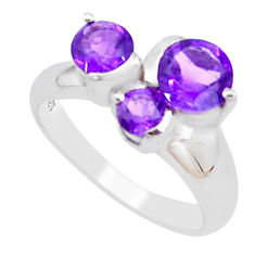 925 silver 3.13cts natural purple amethyst round solitaire ring size 5.5 p18349