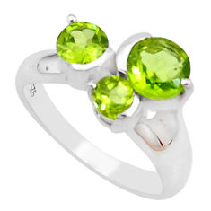 3.32cts natural green peridot 925 silver solitaire ring jewelry size 7 p18353