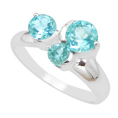 925 silver 3.12cts natural blue topaz round solitaire ring size 7.5 p18360