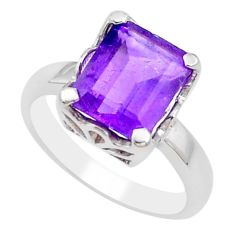 925 silver 4.22cts natural purple amethyst solitaire ring size 8.5 p18370