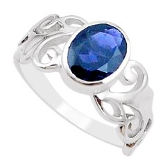3.01cts natural blue iolite 925 sterling silver solitaire ring size 7.5 p18397