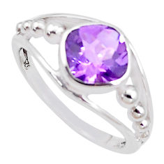 2.95cts natural purple amethyst 925 silver solitaire ring size 6.5 p18429