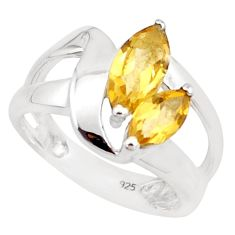 4.22cts natural yellow citrine 925 silver solitaire ring jewelry size 6.5 p18441