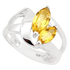 3.83cts natural yellow citrine 925 silver solitaire ring jewelry size 7.5 p18442