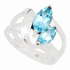 4.40cts natural blue topaz 925 sterling silver solitaire ring size 5.5 p18445