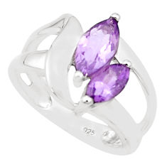 4.19cts natural purple amethyst 925 silver solitaire ring size 5.5 p18450
