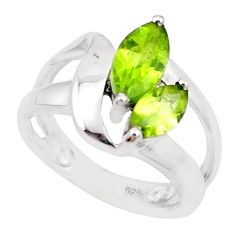 4.40cts natural green peridot 925 silver solitaire ring jewelry size 6.5 p18455