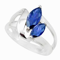 4.16cts natural blue iolite 925 sterling silver solitaire ring size 7.5 p18457