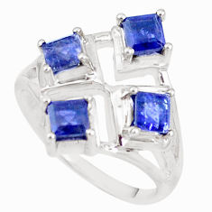3.13cts natural blue iolite 925 sterling silver ring jewelry size 7 p18547