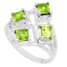 3.01cts natural green peridot 925 sterling silver ring jewelry size 8 p18550