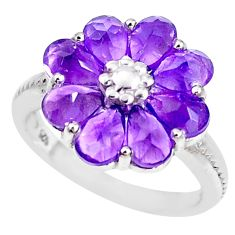 7.12cts natural purple amethyst 925 sterling silver flower ring size 6.5 p18568