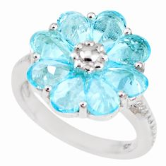 7.40cts natural blue topaz 925 sterling silver flower ring size 6.5 p18572