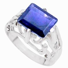 4.40cts natural blue iolite 925 sterling silver ring jewelry size 7.5 p18586