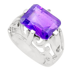4.93cts natural purple amethyst 925 sterling silver ring jewelry size 7.5 p18597