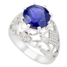 6.02cts natural blue iolite 925 sterling silver solitaire ring size 8.5 p18627