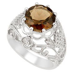 5.83cts brown smoky topaz 925 sterling silver solitaire ring size 7.5 p18631