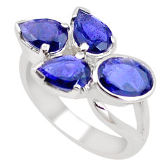 6.58cts natural blue iolite 925 sterling silver ring jewelry size 6.5 p18645