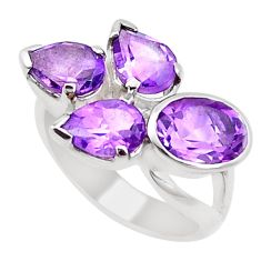 6.02cts natural purple amethyst 925 sterling silver ring jewelry size 5.5 p18651