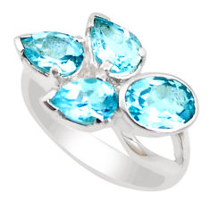 925 sterling silver 7.07cts natural blue topaz oval ring jewelry size 6.5 p18656