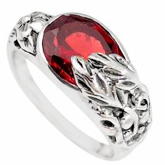 5.60cts natural red garnet 925 sterling silver solitaire ring size 8 p18669
