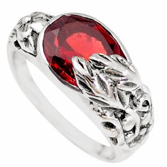 5.60cts natural red garnet 925 sterling silver solitaire ring size 8.5 p18671