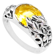 5.44cts natural yellow citrine 925 silver solitaire ring jewelry size 6.5 p18674
